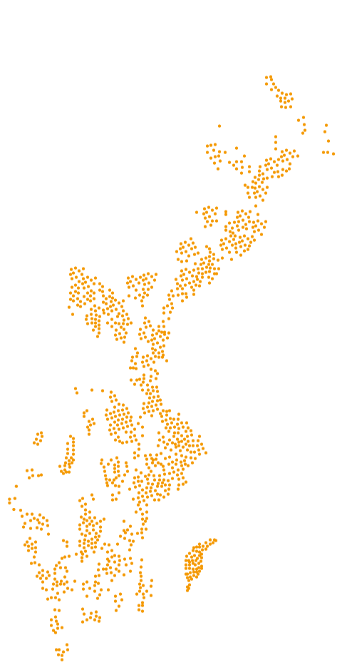 Karta på drygt 900 anläggningar vi levererat i Sverige